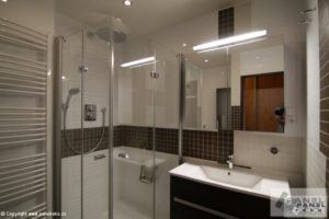 Hnědo-bílá koupelna